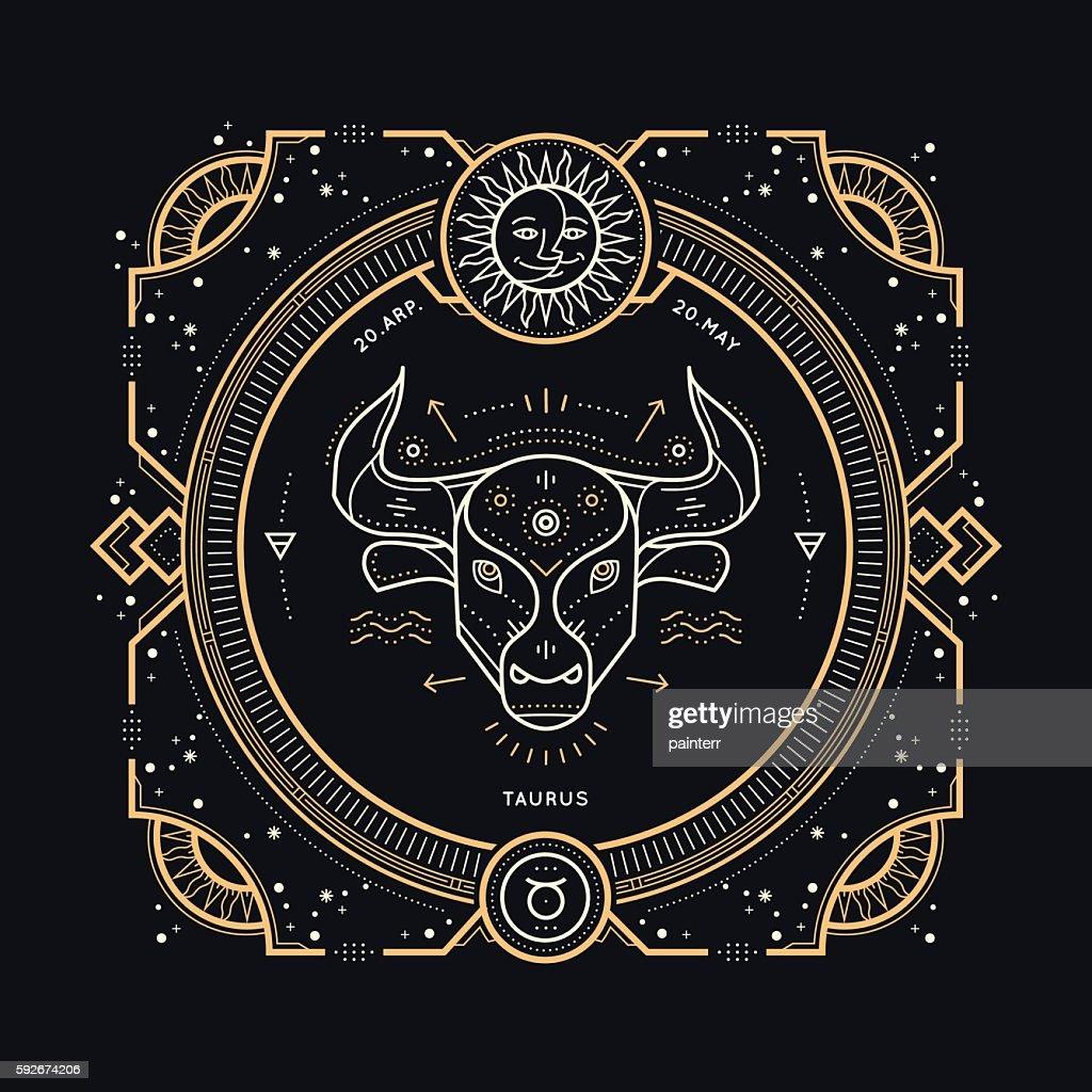 Vintage thin line Taurus zodiac sign label.