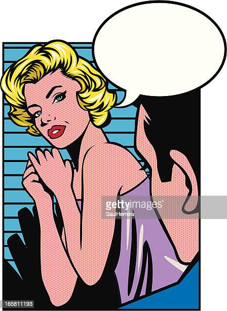 vintage thoughtful woman - seduction stock illustrations, clip art, cartoons, & icons