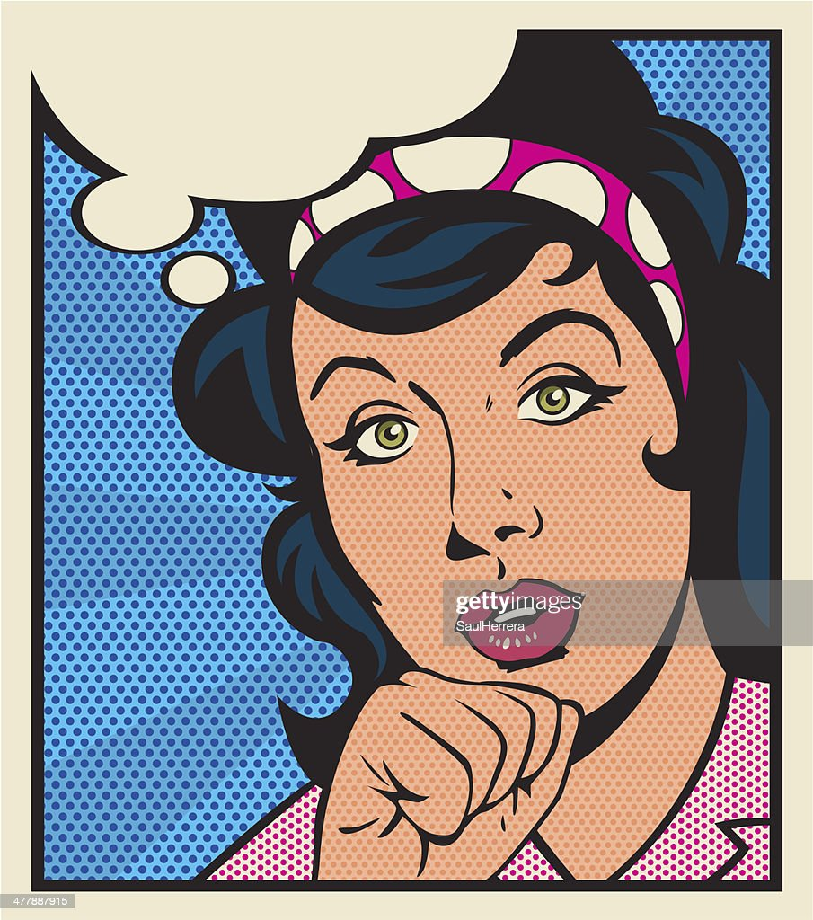 Vintage thoughtful woman : stock illustration