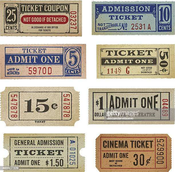 vintage tickets and coupons - retro style stock illustrations