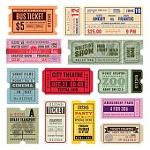 Vintage tickets. Hand ticket circus, cinema and concert party old paper voucher travelling cruise raffle coupon. Vector template set