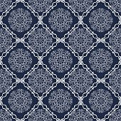 Vintage tile, geometric patterned dark blue vector background, white calligraphic drawing in retro victorian style. Fine oriental filigree ornament