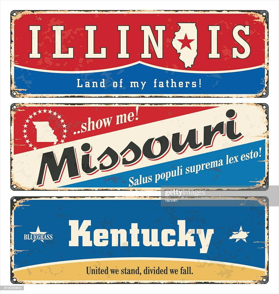 Vintage tin sign with USA state. Illinois. Missouri. Retro. Rust.