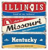 Vintage tin sign with USA state. Illinois. Missouri. Retro. Rust.