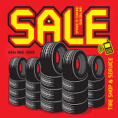 Vintage tire service or garage poster with text Sale