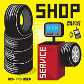 Vintage tire service or garage poster with text Tire shop