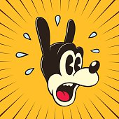 Vintage Toons: retro cartoon surprised or frightened character face