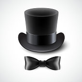 Vintage top hat and a bow tie. Vector illustration