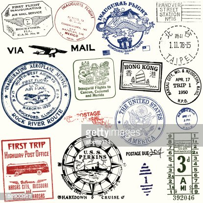 Vintage Travel And Postage Stamps Vector Art Getty Images