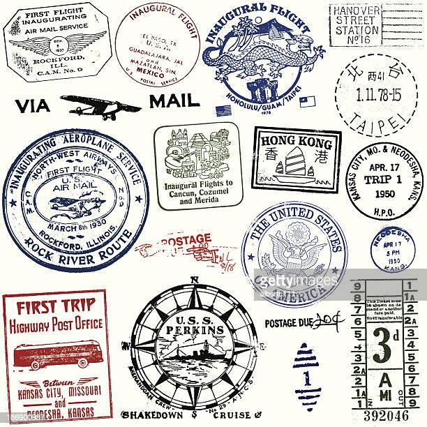 vintage travel and postage stamps - taiwan stock illustrations