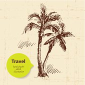 Vintage travel background with palms