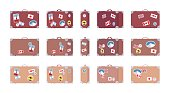 Vintage travel suitcases with retro luggage stickers