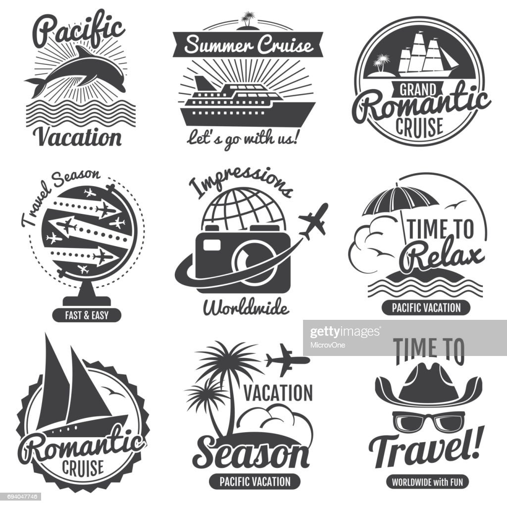 Vintage travel vector icon set