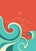 Vintage tropical background with sea waves and sun