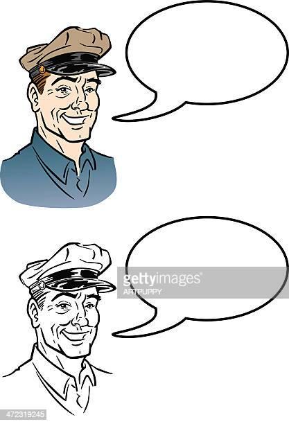 illustrations, cliparts, dessins animés et icônes de chauffeur de camion vintage parole - chauffeur routier
