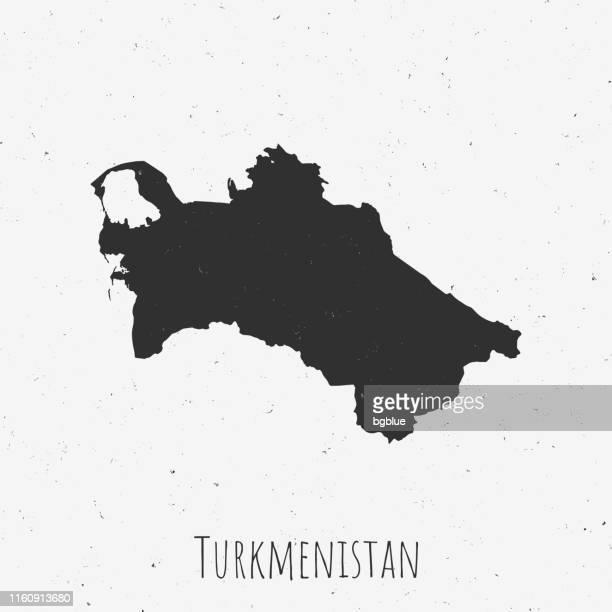 ほこりっぽい白い背景に、レトロなスタイルのヴィンテージトルクメニスタン地図 - トルクメニスタン点のイラスト素材/クリップアート素材/マンガ素材/アイコン素材