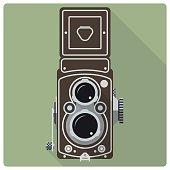 Vintage twin lens reflex camera vector icon