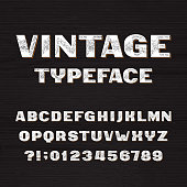 Vintage typeface. Retro alphabet font. Type letters and numbers.