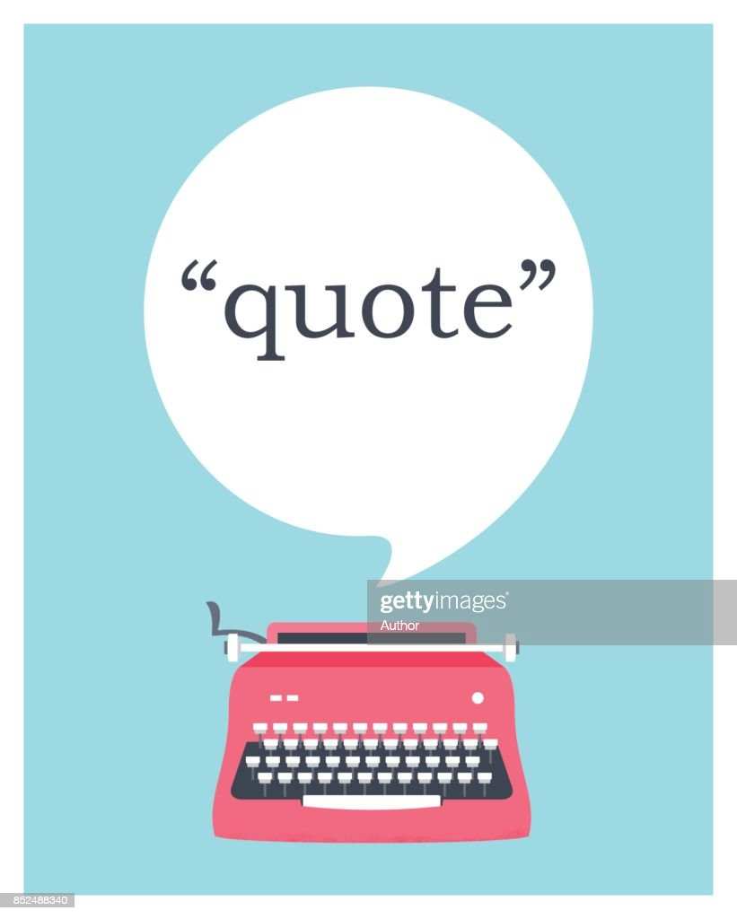 Vintage Typewriter with Speech Bubble Space for Quote. Vector Design