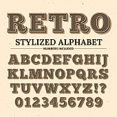 Vintage typography vector font. Decorative retro alphabet. Old western style letters and numbers