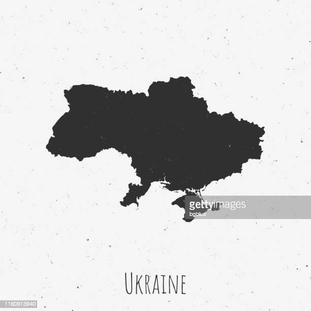 vintage ukraine map with retro style, on dusty white background - ukraine stock illustrations