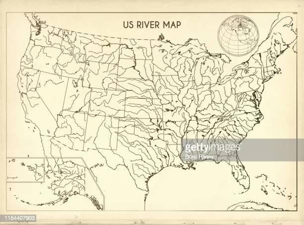 ilustraciones, imágenes clip art, dibujos animados e iconos de stock de vintage mapa del río estados unidos en fondo de papel retro - las américas