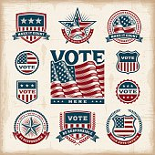 Vintage USA election labels and badges set