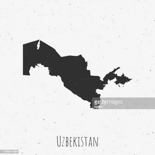 stockillustraties, clipart, cartoons en iconen met vintage oezbekistan kaart met retro stijl, op stoffige witte achtergrond - oezbekistan