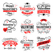 Vintage valentines day vector banners for love greeting card