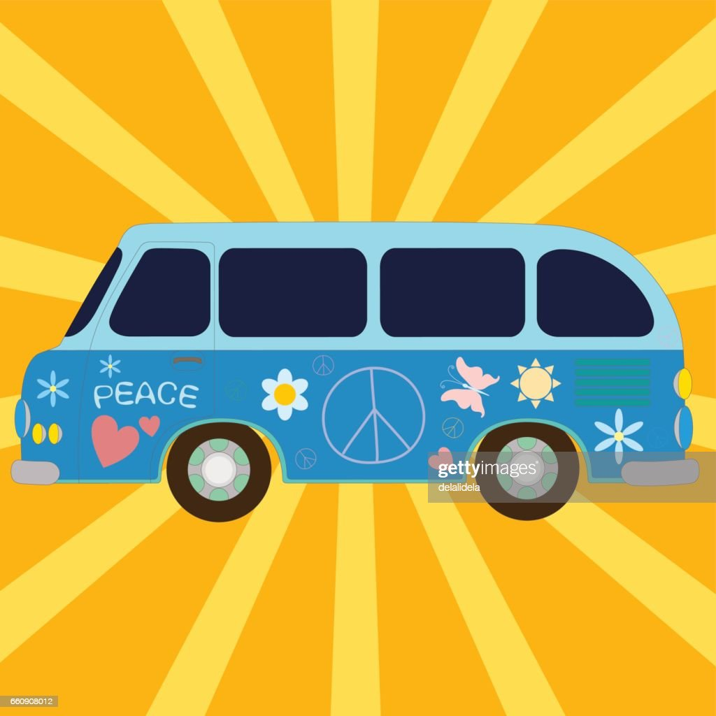 Vintage van painted of hippie symbols