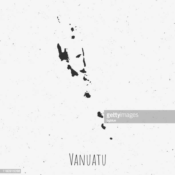 Vintage Vanuatu map with retro style, on dusty white background