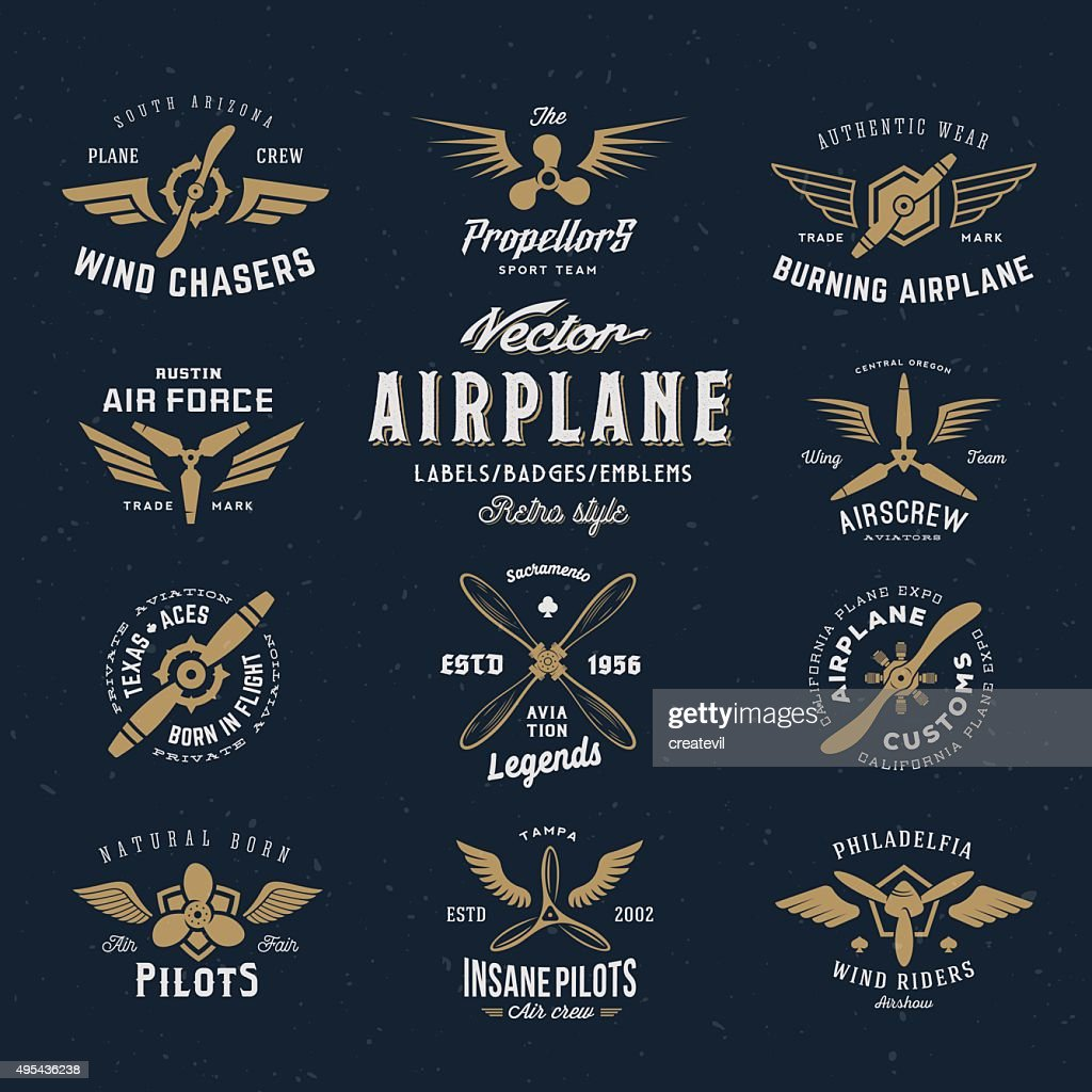 Vintage Vector Airplane Labels Set with Retro Typography. Shabby Texture