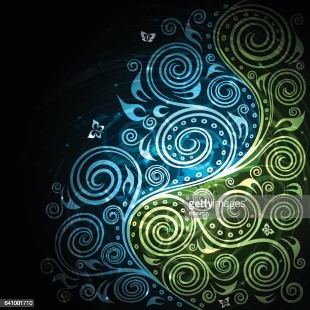 Vintage vector blue green floral background illustration
