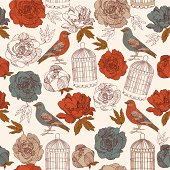 Vintage vector card spring. Bird with blossoms red flowers.