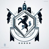 Vintage vector emblem made in heraldic design and decorated with medieval tower and horse illustration