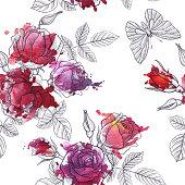 vintage vector floral seamless pattern