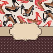 Vintage vector frame with shoes