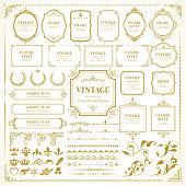 Vintage vector frames / Set of template / Retro  design for monograms, invitations, frames, banners, menus, labels and websites.