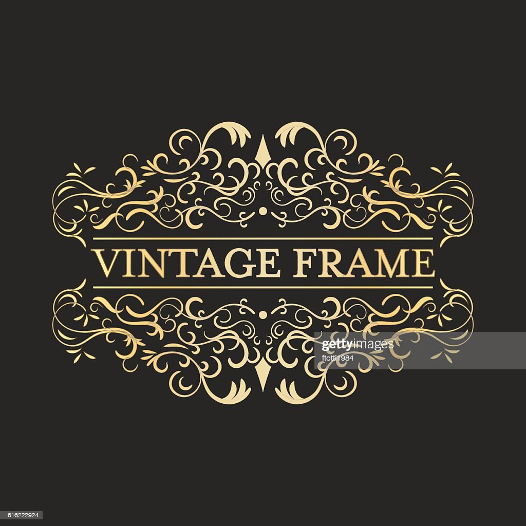 Vintage vector golden frame in vintage style. Calligraphic design. : Vectorkunst