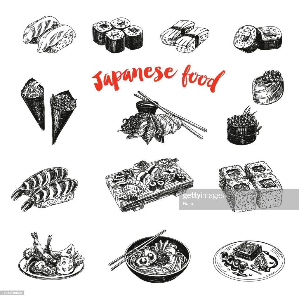 Vintage vector hand drawn Japanese food sketch Illustration.