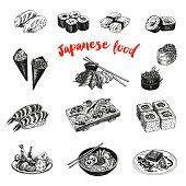 Vintage vector hand drawn Japanese food sketch Illustration.