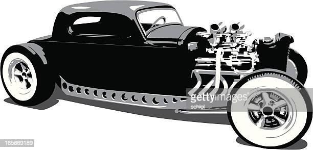 vintage vector hot rod - low rider stock illustrations