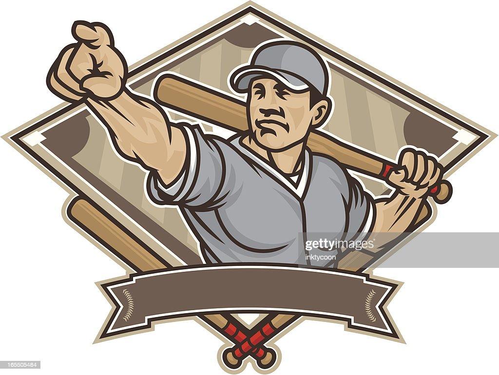 Vintage Vector Illustration Of A Man With Baseball Bat Art