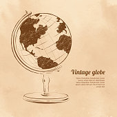 Vintage vector illustration of globe.