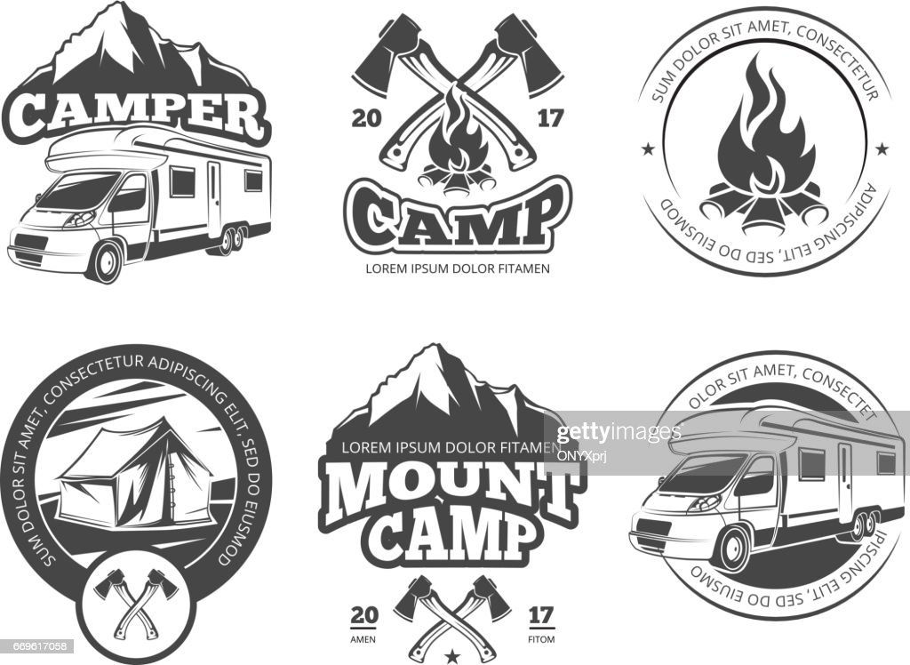 Vintage vector labels set with camper near mountain, tent and firtrees. Monochrome camping icon elements