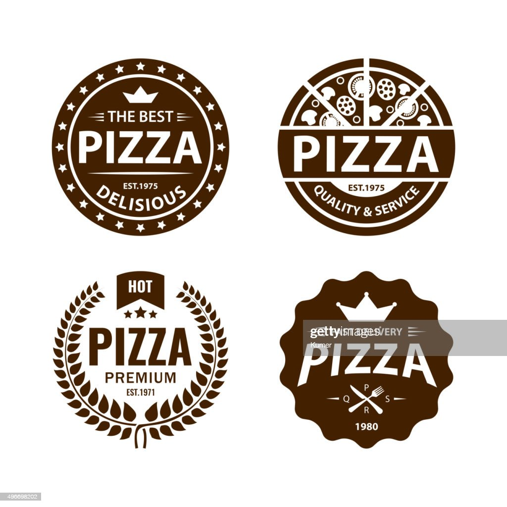 Vintage vector pizza label, badge set 2