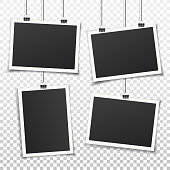 Vintage vector realistic photo frame set.