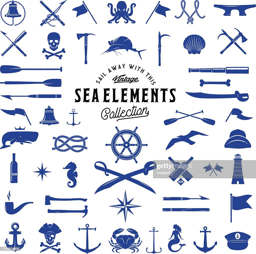 Vintage Vector Sea or Nautical Icon Elements Set for Your