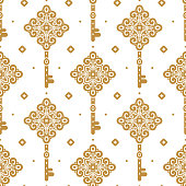 Vintage vector seamless pattern with keys, wallpaper.