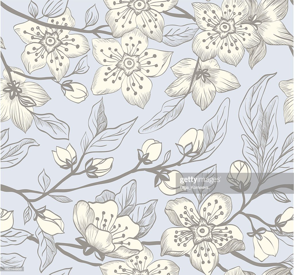 Vintage vector seamless spring floral background